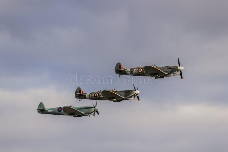 Τρία Spitfire κατά την πτήση στοκ φωτογραφία
