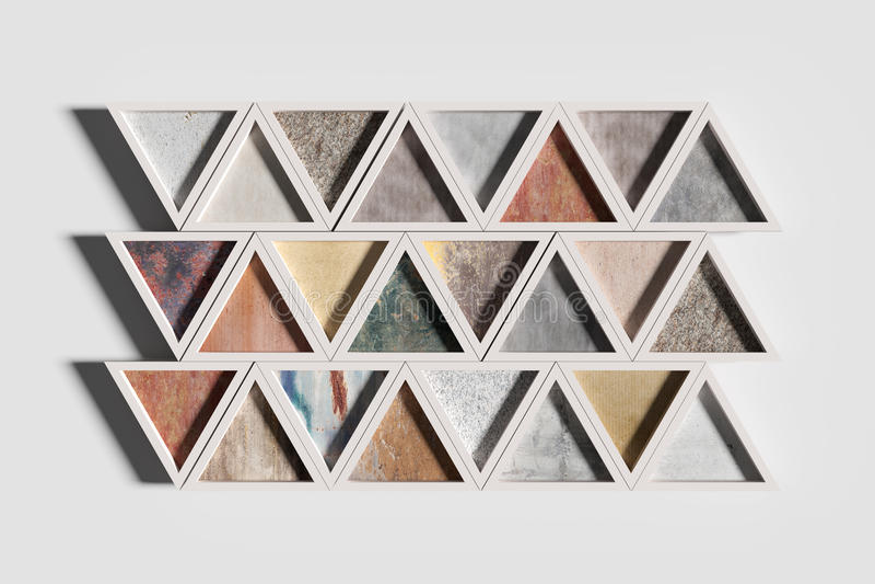 Τρίγωνα των διαφορετικών υλικών στα άσπρα πλαίσια ελεύθερη απεικόνιση δικαιώματος