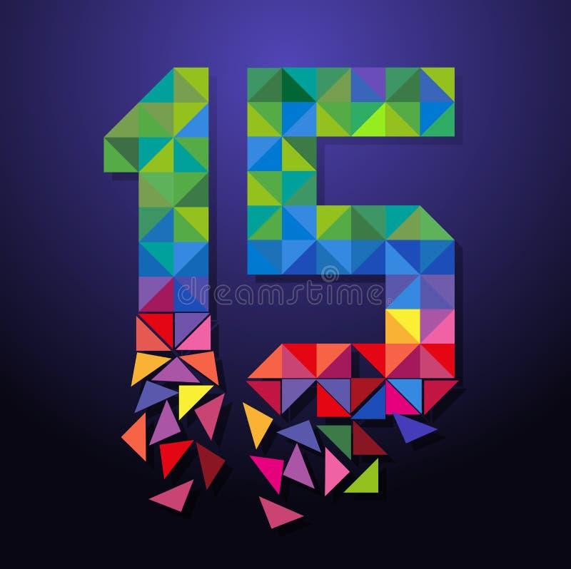 Τρίγωνο αριθμός δεκαπέντε διανυσματική απεικόνιση