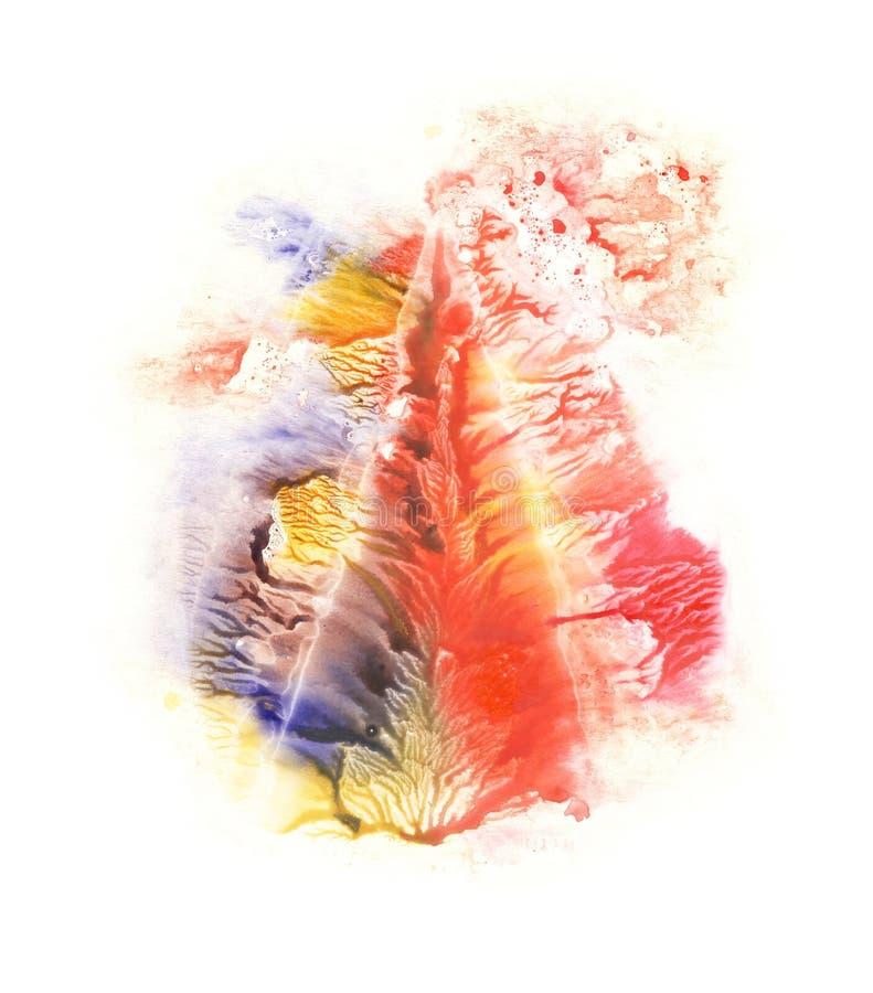 τρίγωνο Μπλε, κόκκινο, πορτοκαλί και κίτρινο σημείο watercolor αφηρημένη ανασκόπηση απεικόνιση αποθεμάτων