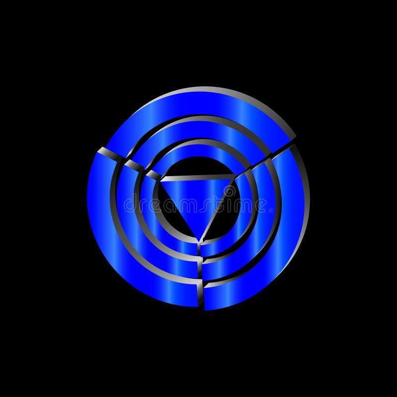 Τρίγωνο νέου λογότυπων στους μπλε κύκλους στοκ φωτογραφίες με δικαίωμα ελεύθερης χρήσης