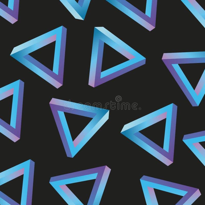 Τρίγωνο σχεδίων ύφους της Μέμφιδας που επαναλαμβάνει το γεωμετρικό χρώμα κρητιδογραφιών μορφής ελεύθερη απεικόνιση δικαιώματος
