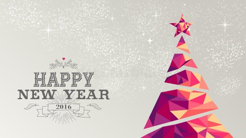 Τρίγωνο χριστουγεννιάτικων δέντρων καρτών καλής χρονιάς 2016 διανυσματική απεικόνιση