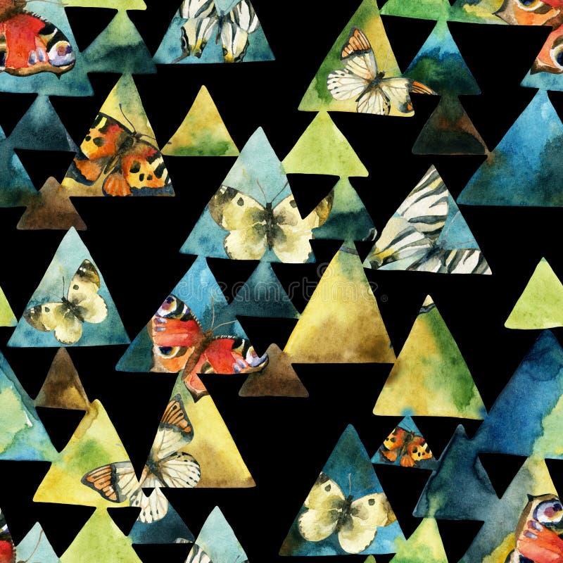 Τρίγωνο Watercolor και άνευ ραφής σχέδιο πεταλούδων διανυσματική απεικόνιση