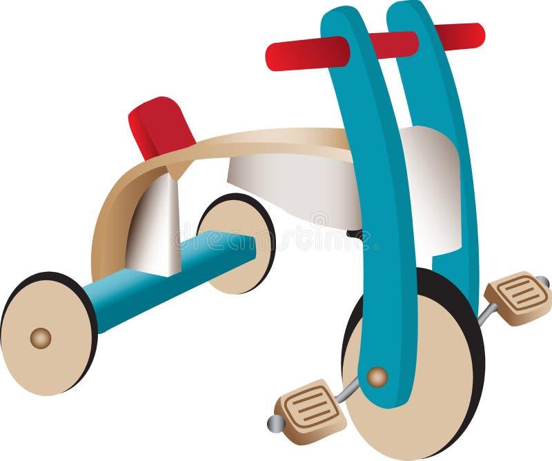 τρίκυκλος ξύλινος παιχν&io διανυσματική απεικόνιση