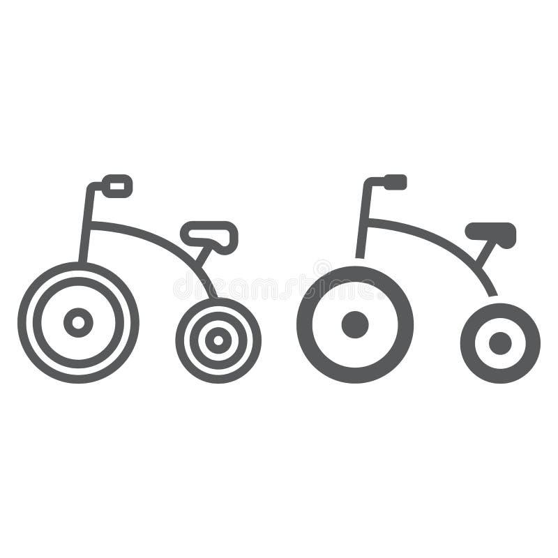 Τρίκυκλο γραμμή και glyph εικονίδιο, ποδήλατο και παιδί, σημάδι ποδηλάτων, διανυσματική γραφική παράσταση, ένα γραμμικό σχέδιο σε ελεύθερη απεικόνιση δικαιώματος