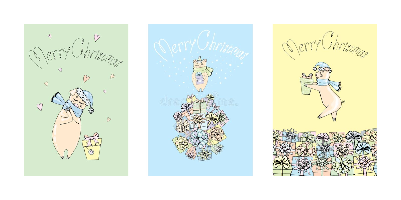 Τρίο των Χριστουγέννων χοίρων και των νέων δώρων έτους ελεύθερη απεικόνιση δικαιώματος