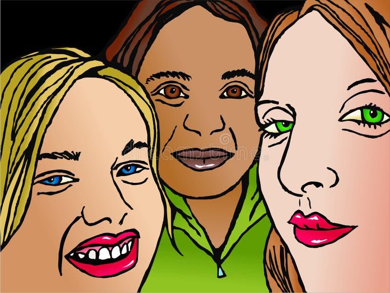 τρίο φίλων ελεύθερη απεικόνιση δικαιώματος