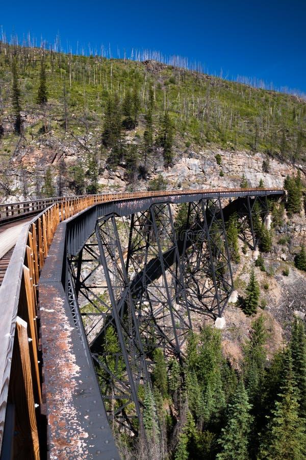 Τρίποδο τραίνων στο σιδηρόδρομο κοιλάδων κατσαρολών κοντά σε Kelowna, Καναδάς στοκ φωτογραφία