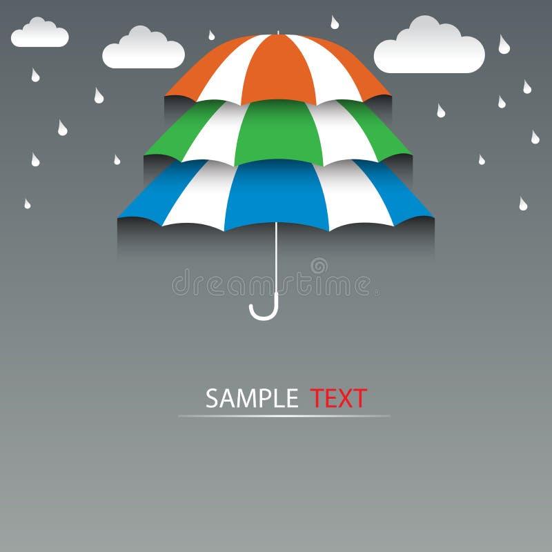 Τρίτα πάτωμα ομπρελών και υπόβαθρο βροχής απεικόνιση αποθεμάτων