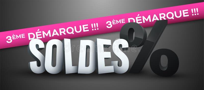 Τρίτο Mark-Down πωλήσεων στα γαλλικά: Soldes 3e démarque διανυσματική απεικόνιση