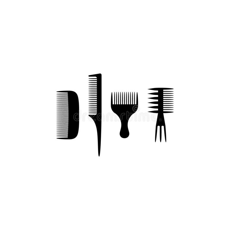 Τρίχας χτενών μαύρο σύνολο εικονιδίων σκιαγραφιών διανυσματικό απεικόνιση αποθεμάτων