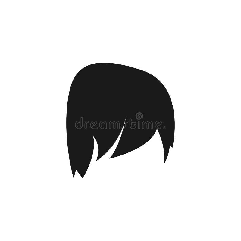 τρίχα, γυναίκα, κούρεμα, μακροχρόνιο εικονίδιο απεικόνιση αποθεμάτων