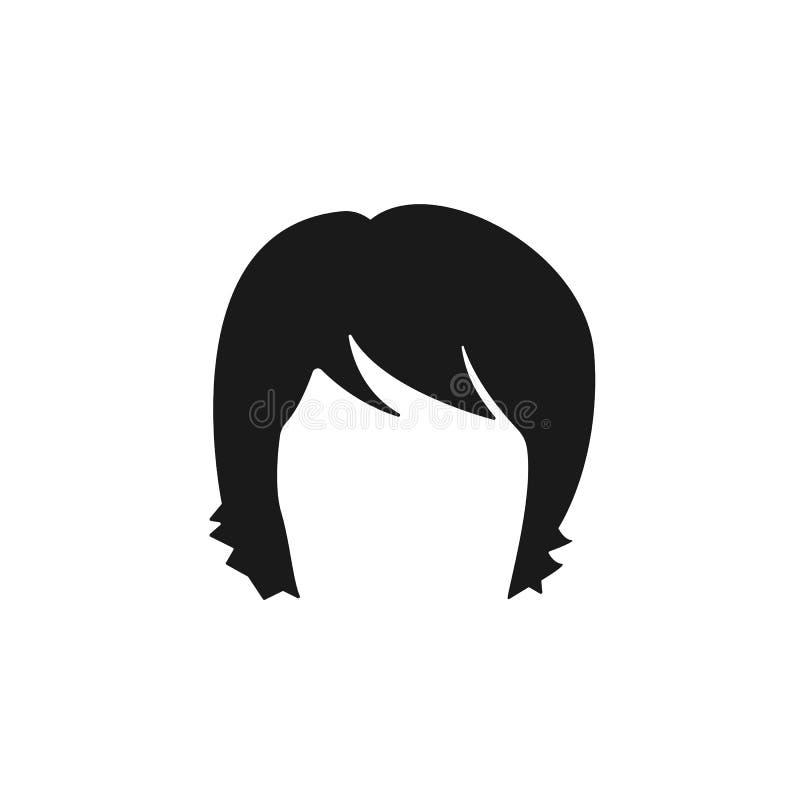 τρίχα, γυναίκα, κούρεμα, shag εικονίδιο ελεύθερη απεικόνιση δικαιώματος