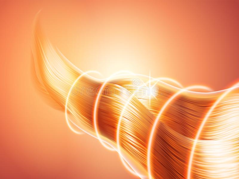Τρίχα με την ακτινοβολώντας επίδραση Φωτεινές λαμπιρίζοντας μπούκλες Ακτινωτά φωτεινά κύματα Προστασία ή εμπόδιο Θέμα της προσοχή διανυσματική απεικόνιση