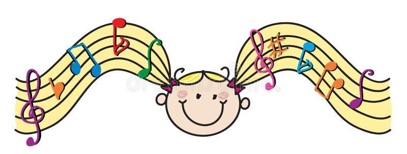 Τρίχα μουσικής κοριτσιών διανυσματική απεικόνιση