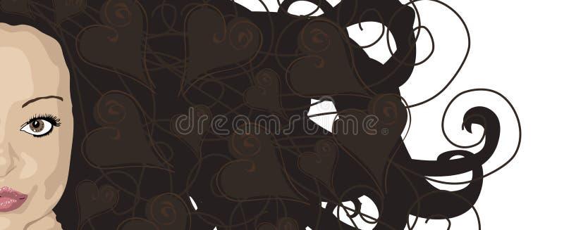 τρίχωμα brunette εγκάρδιο διανυσματική απεικόνιση