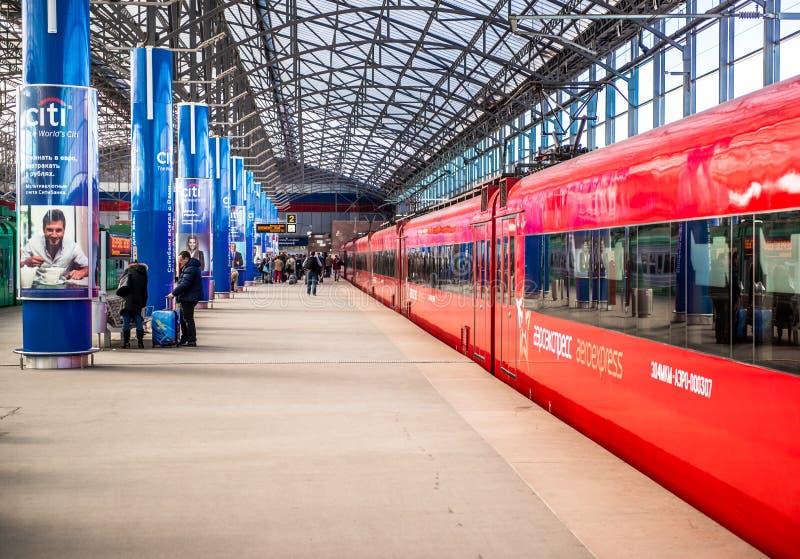 Τραίνα Aeroexpress στο σταθμό τρένου στοκ εικόνες με δικαίωμα ελεύθερης χρήσης