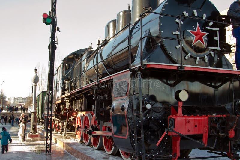 Τραίνο ατμού κατά τη διάρκεια του εκθέματος δεύτερων παγκόσμιων πολέμων στο μουσείο-Panora στοκ εικόνες με δικαίωμα ελεύθερης χρήσης