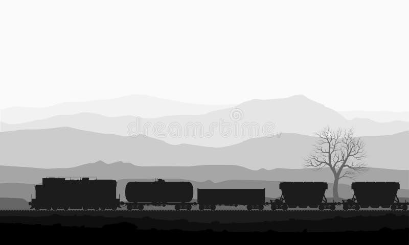Τραίνο με τα βαγόνια εμπορευμάτων φορτίου πέρα από τα τεράστια βουνά διανυσματική απεικόνιση