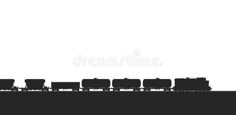 Τραίνο με τα βαγόνια εμπορευμάτων φορτίου ελεύθερη απεικόνιση δικαιώματος