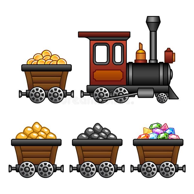 Τραίνο με τις σκάφες ορυχείων ελεύθερη απεικόνιση δικαιώματος