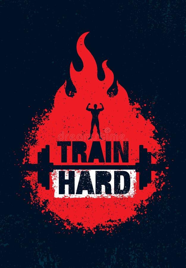 Τραίνο σκληρό Barbell δημιουργική έννοια κινήτρου Workout και ικανότητας Διανυσματικό έμβλημα Grunge τυπογραφίας διανυσματική απεικόνιση