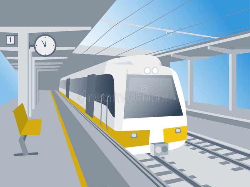 Τραίνο στο σταθμό ελεύθερη απεικόνιση δικαιώματος