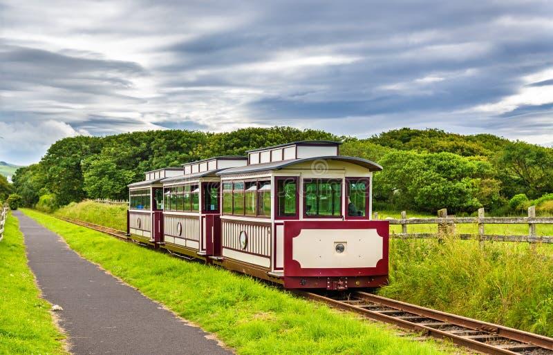 Τραίνο στο υπερυψωμένο μονοπάτι του γίγαντα και το σιδηρόδρομο Bushmills, βόρειο IR στοκ φωτογραφία με δικαίωμα ελεύθερης χρήσης