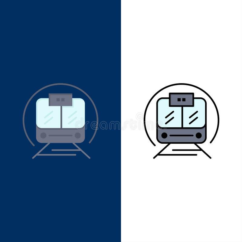 Τραίνο ταχύτητας, μεταφορά, τραίνο, δημόσια εικονίδια Επίπεδος και γραμμή γέμισε το καθορισμένο διανυσματικό μπλε υπόβαθρο εικονι ελεύθερη απεικόνιση δικαιώματος