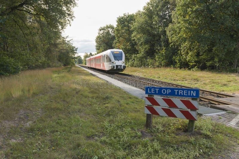 Τραίνο diesel στην περιοχή Achterhoek μεταξύ Aalten και χειμώνα στοκ φωτογραφία με δικαίωμα ελεύθερης χρήσης