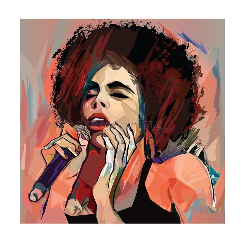 Τραγουδιστής της Jazz με το μικρόφωνο στοκ φωτογραφίες