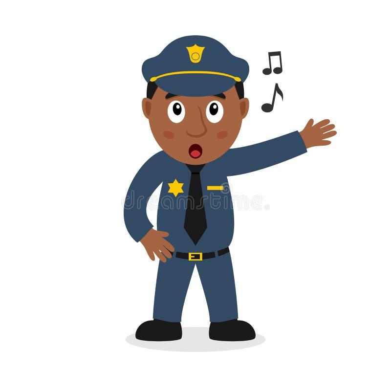 Τραγουδώντας μαύρος χαρακτήρας κινουμένων σχεδίων αστυνομικών απεικόνιση αποθεμάτων