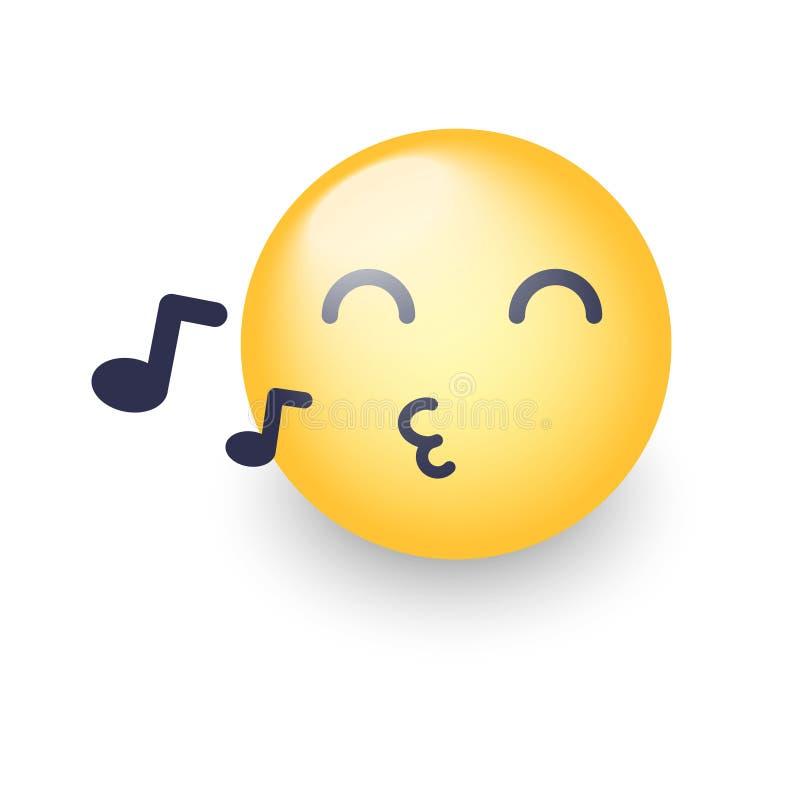 Τραγουδώντας πρόσωπο smiley Το Emoji σφυρίζει ένα τραγούδι Διάνυσμα κινούμενων σχεδίων emoticon με τις σημειώσεις Ευτυχής κίτρινο διανυσματική απεικόνιση