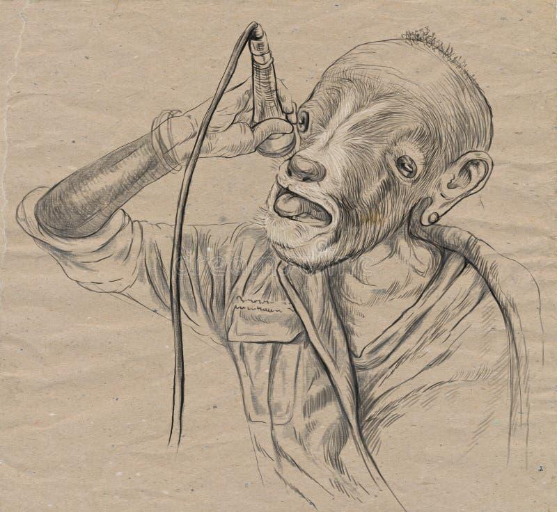 Τραγουδιστής αιγών Ένα συρμένο χέρι σύνολο - μεγέθους απεικόνιση, αρχική διανυσματική απεικόνιση