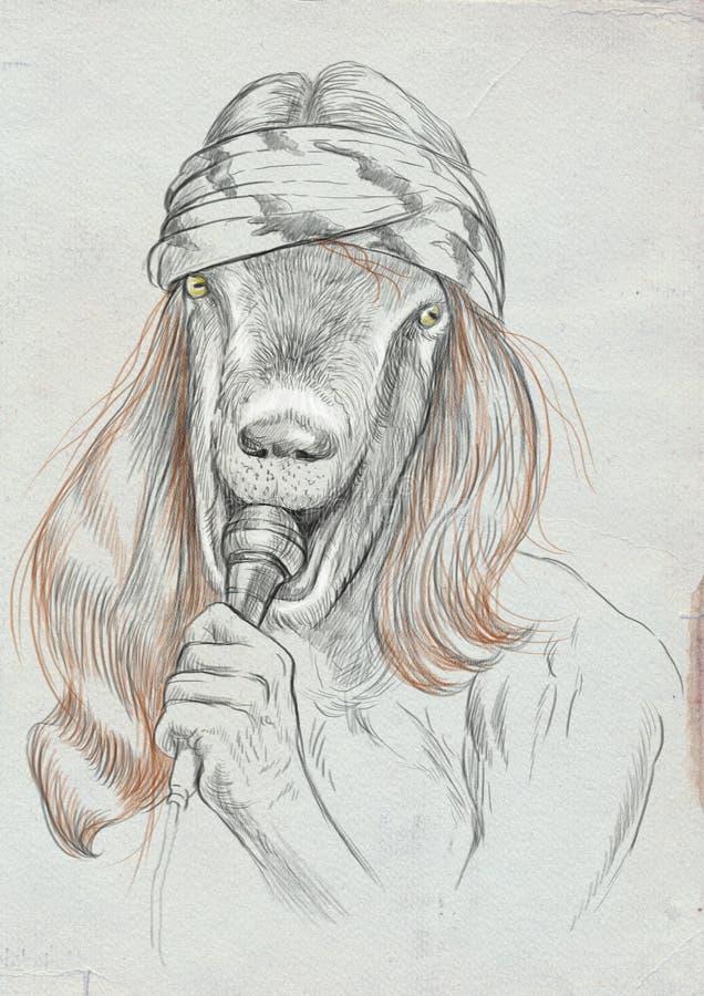 Τραγουδιστής αιγών Ένα συρμένο χέρι σύνολο - μεγέθους απεικόνιση, αρχική απεικόνιση αποθεμάτων
