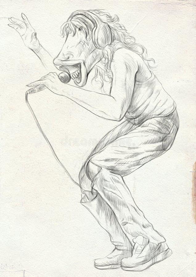 Τραγουδιστής αλόγων Ένα συρμένο χέρι σύνολο - μεγέθους απεικόνιση, αρχική διανυσματική απεικόνιση