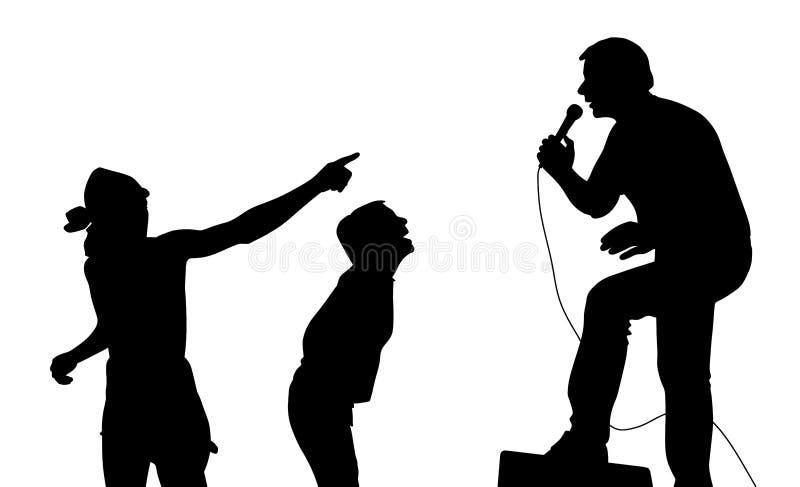 Τραγουδιστής και ανεμιστήρες απεικόνιση αποθεμάτων