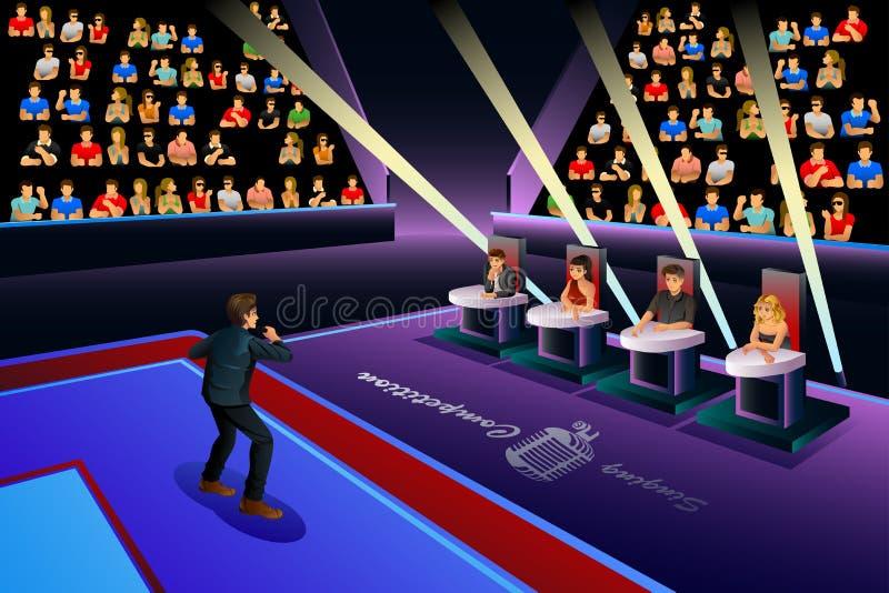 Τραγουδιστής σε έναν ανταγωνισμό τραγουδιού ελεύθερη απεικόνιση δικαιώματος