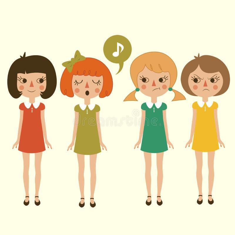 Τραγουδώντας χαρακτήρας κοριτσιών κινούμενων σχεδίων, διανυσματική απεικόνιση