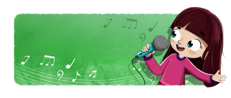 Τραγούδι κοριτσιών με την απεικόνιση μικροφώνων διανυσματική απεικόνιση