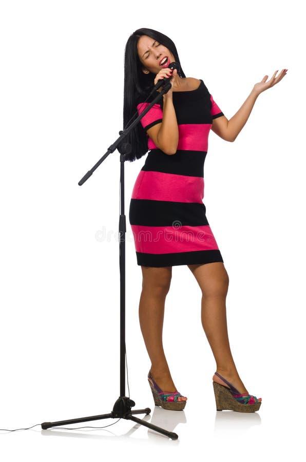 Download Τραγούδι γυναικών στη λέσχη καραόκε στο λευκό Στοκ Εικόνα - εικόνα από ζωηρόχρωμος, συναυλία: 62709429