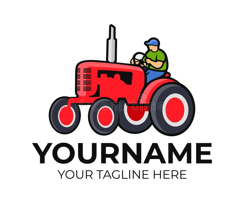 Τρακτέρ, οδηγός τρακτέρ ή αγρότης, πρότυπο λογότυπων Γεωργία, αγρόκτημα και καλλιέργεια, διανυσματικό σχέδιο Γεωργικός εξοπλισμός ελεύθερη απεικόνιση δικαιώματος