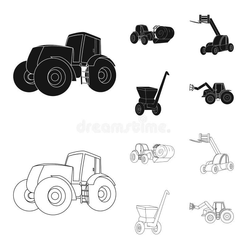 Τρακτέρ, balancer σανού και άλλες γεωργικές συσκευές Καθορισμένα εικονίδια συλλογής γεωργικών μηχανημάτων στο Μαύρο, ύφος περιλήψ ελεύθερη απεικόνιση δικαιώματος