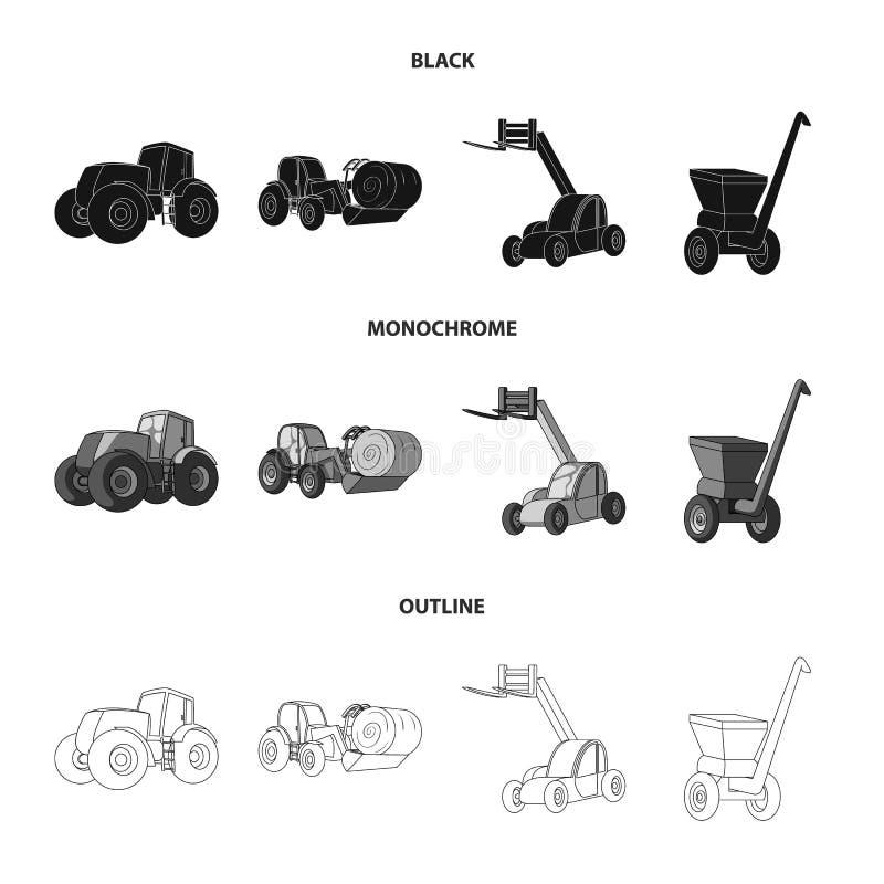 Τρακτέρ, balancer σανού και άλλες γεωργικές συσκευές Καθορισμένα εικονίδια συλλογής γεωργικών μηχανημάτων σε μαύρο, μονοχρωματικό διανυσματική απεικόνιση