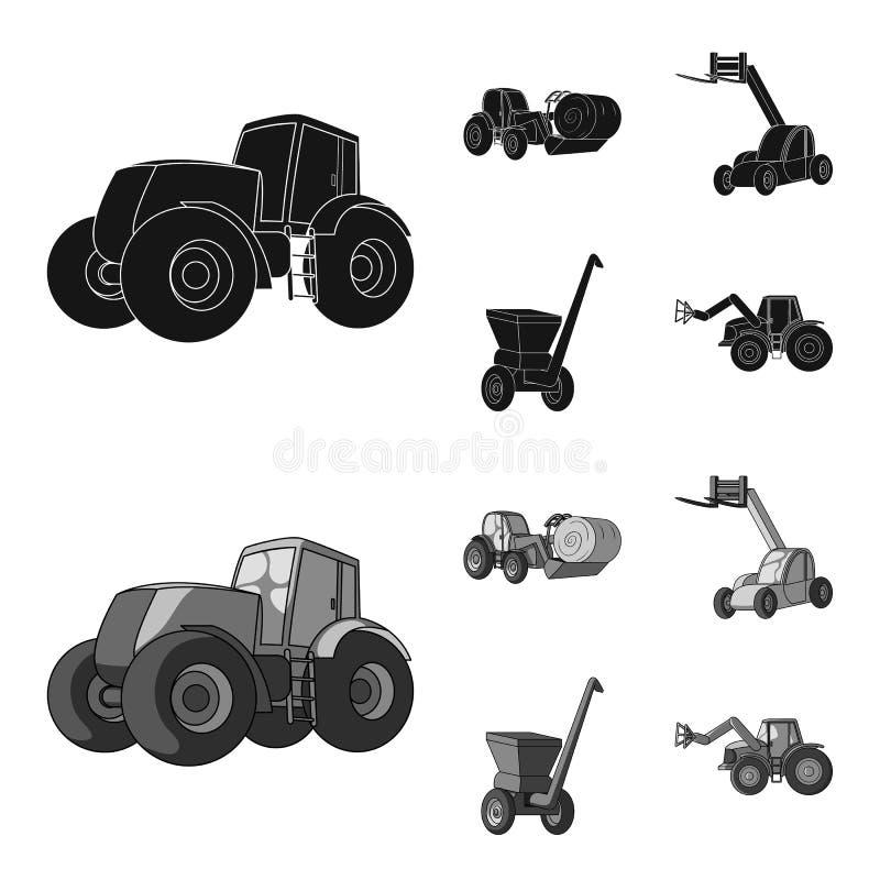 Τρακτέρ, balancer σανού και άλλες γεωργικές συσκευές Καθορισμένα εικονίδια συλλογής γεωργικών μηχανημάτων σε μαύρο, μονοχρωματικό ελεύθερη απεικόνιση δικαιώματος