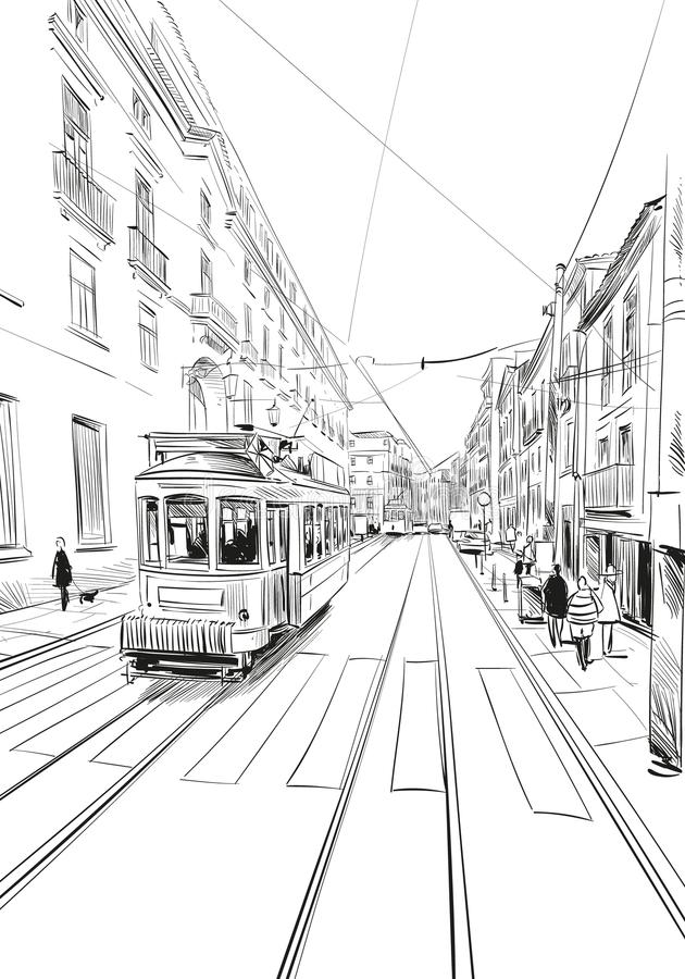 τραμ οδών της Λισσαβώνας Πορτογαλία Ευρώπη Συρμένη χέρι διανυσματική απεικόνιση απεικόνιση αποθεμάτων