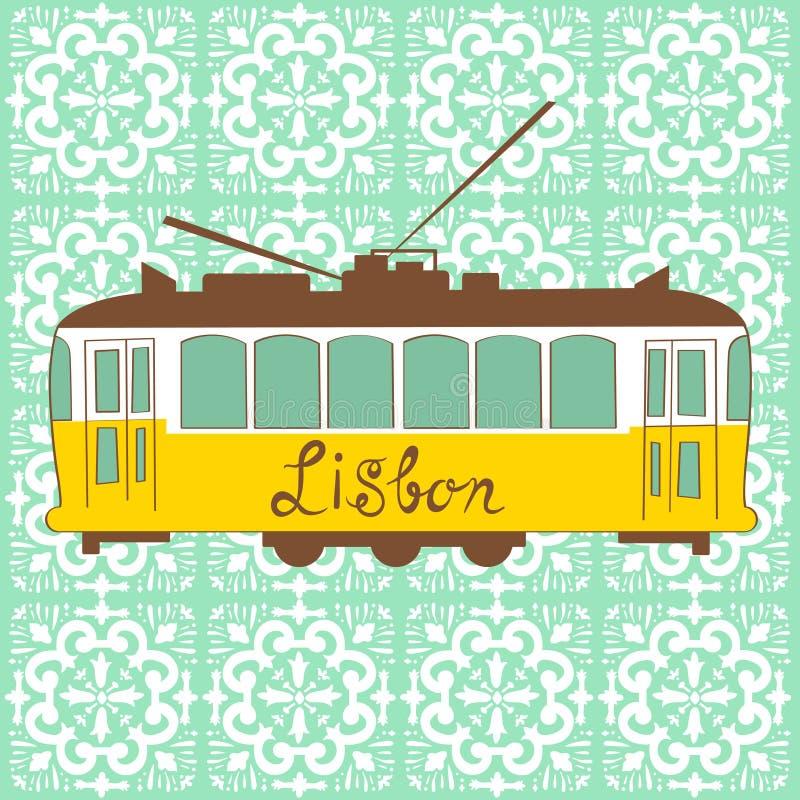 τραμ της Λισσαβώνας κίτρι&nu ελεύθερη απεικόνιση δικαιώματος
