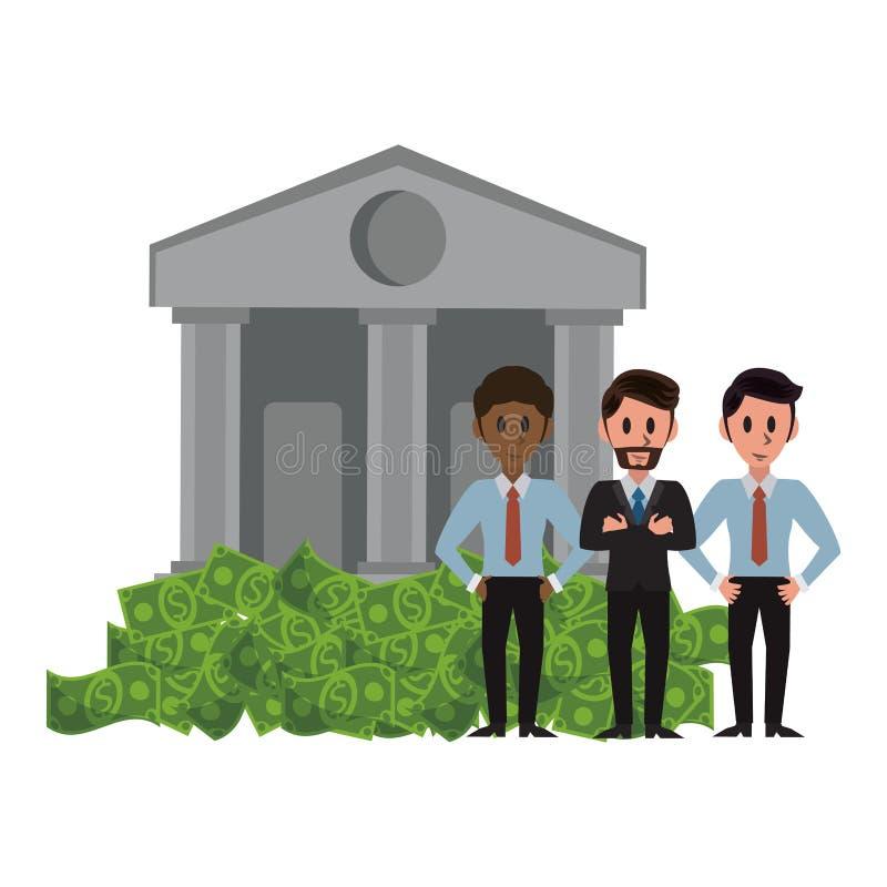 Τραπεζίτες πέρα από το κτήριο τραπεζών ελεύθερη απεικόνιση δικαιώματος