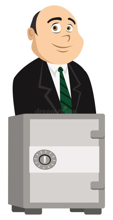 Τραπεζίτης και χρηματοκιβώτιο απεικόνιση αποθεμάτων